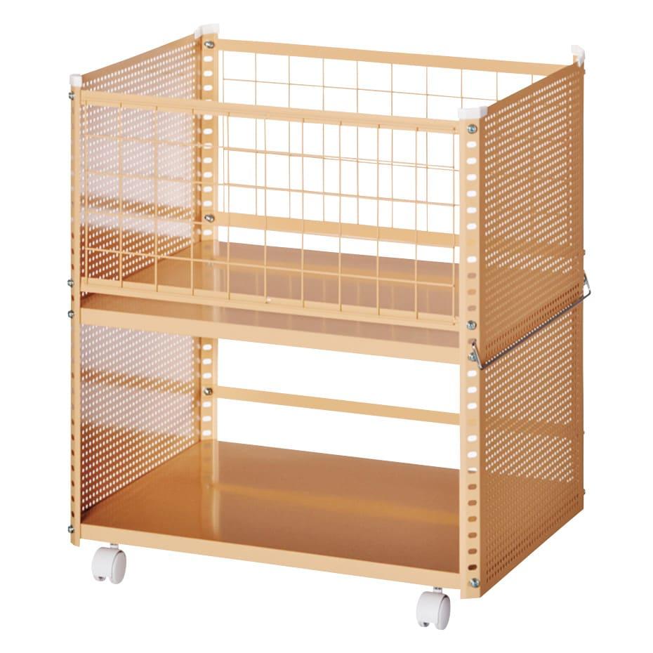 組み立て簡単 頑丈パンチングワゴン パンチングメッシュタイプ 幅43.5奥行55.5高さ64.5cm