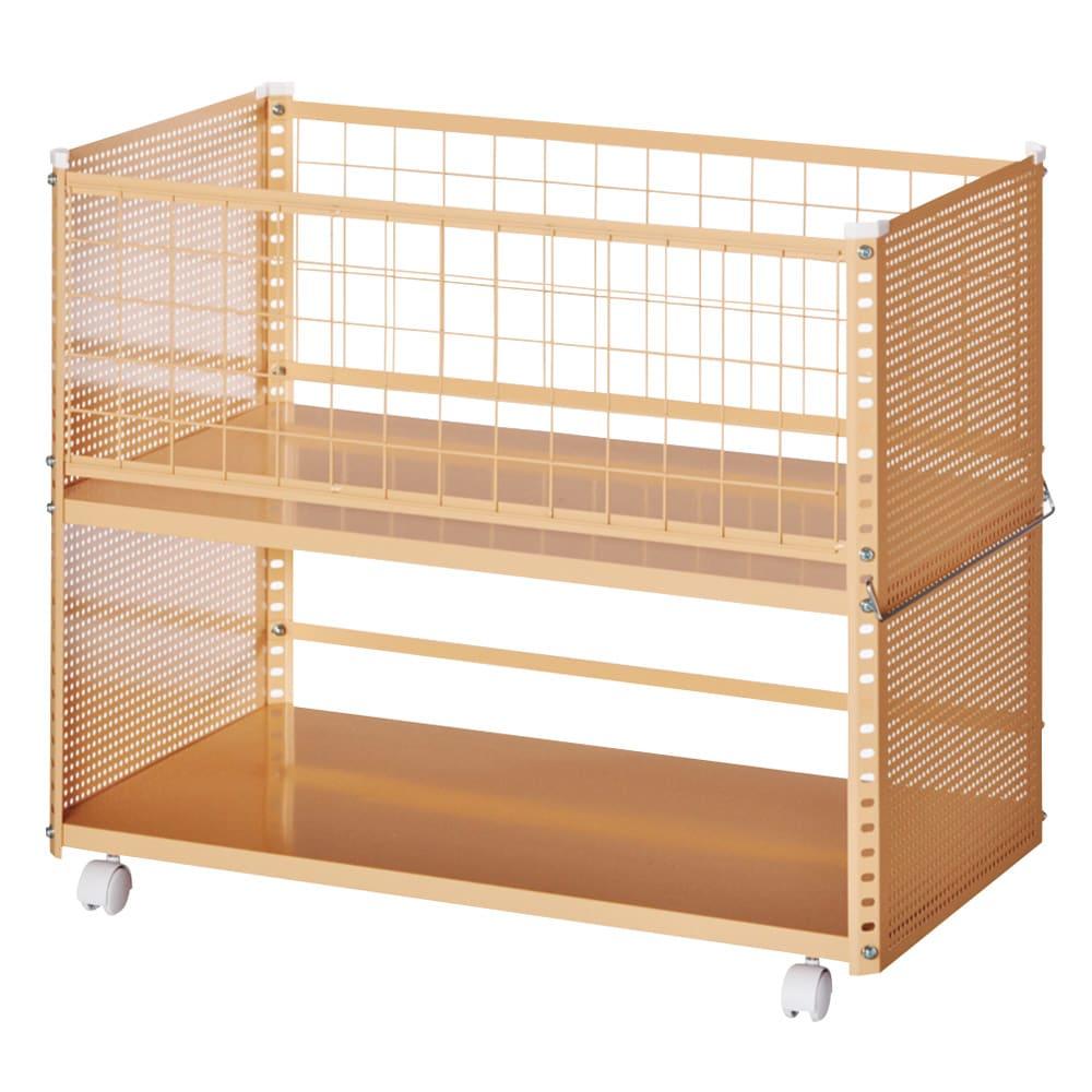 組み立て簡単 頑丈パンチングワゴン パンチングメッシュタイプ 幅43.5奥行75.5高さ64.5cm