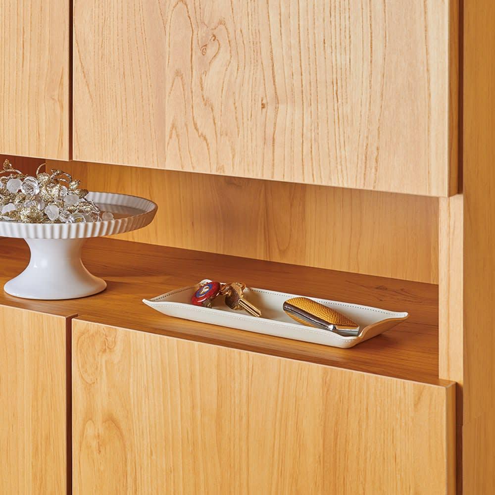 天然木調シューズボックス ハイ 幅99高さ210cm 鍵などを置ける飾り棚付き 高さ14cm