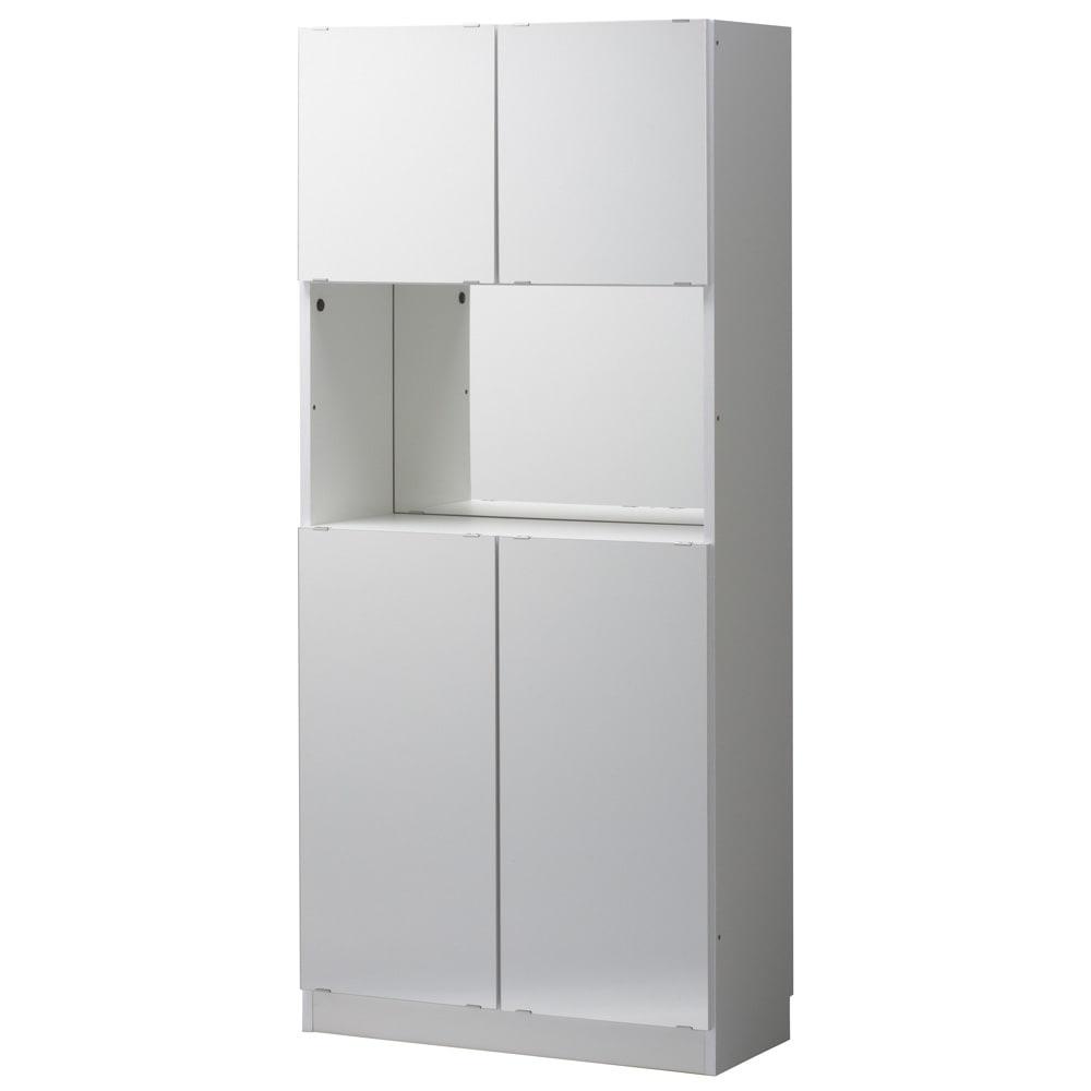 美しく飾れるシューズクローゼット 照明ライト付き下駄箱 幅80cm高さ180cm 幅80 ライト付(イ)前面:ホワイト・本体:ホワイト。オープン部に照明が付いたおしゃれな下駄箱です。