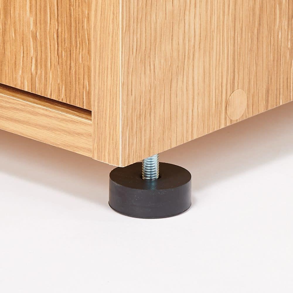 天然木調引き戸シューズボックス ロー(高さ92cm) 幅114cm アジャスターでガタツキを調整可能。