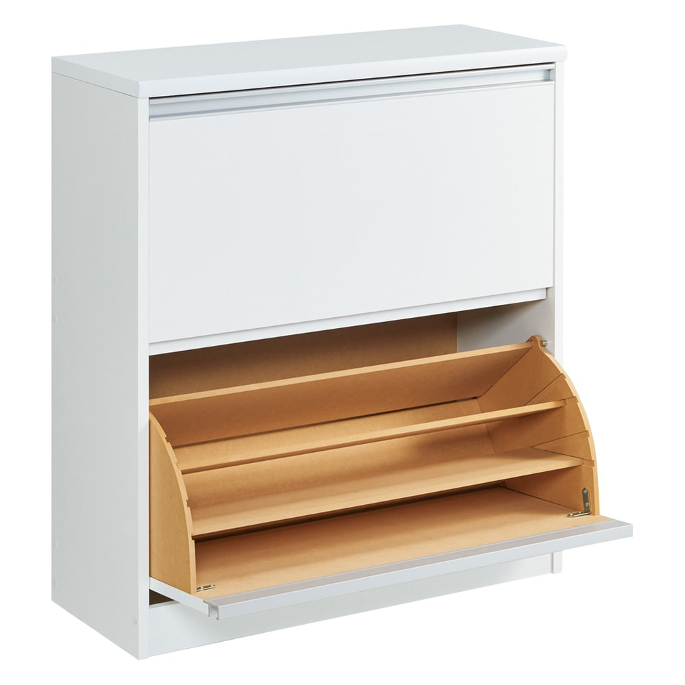 可動仕切り板でたっぷり入るフラップ式シューズボックス 2段 (ア)ホワイト