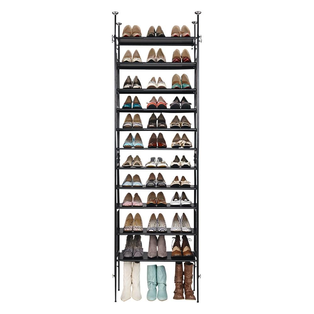 空間に美しく調和する伸縮自在木目調シューズラック 突っ張り式11段 靴の収納足数約36~60足