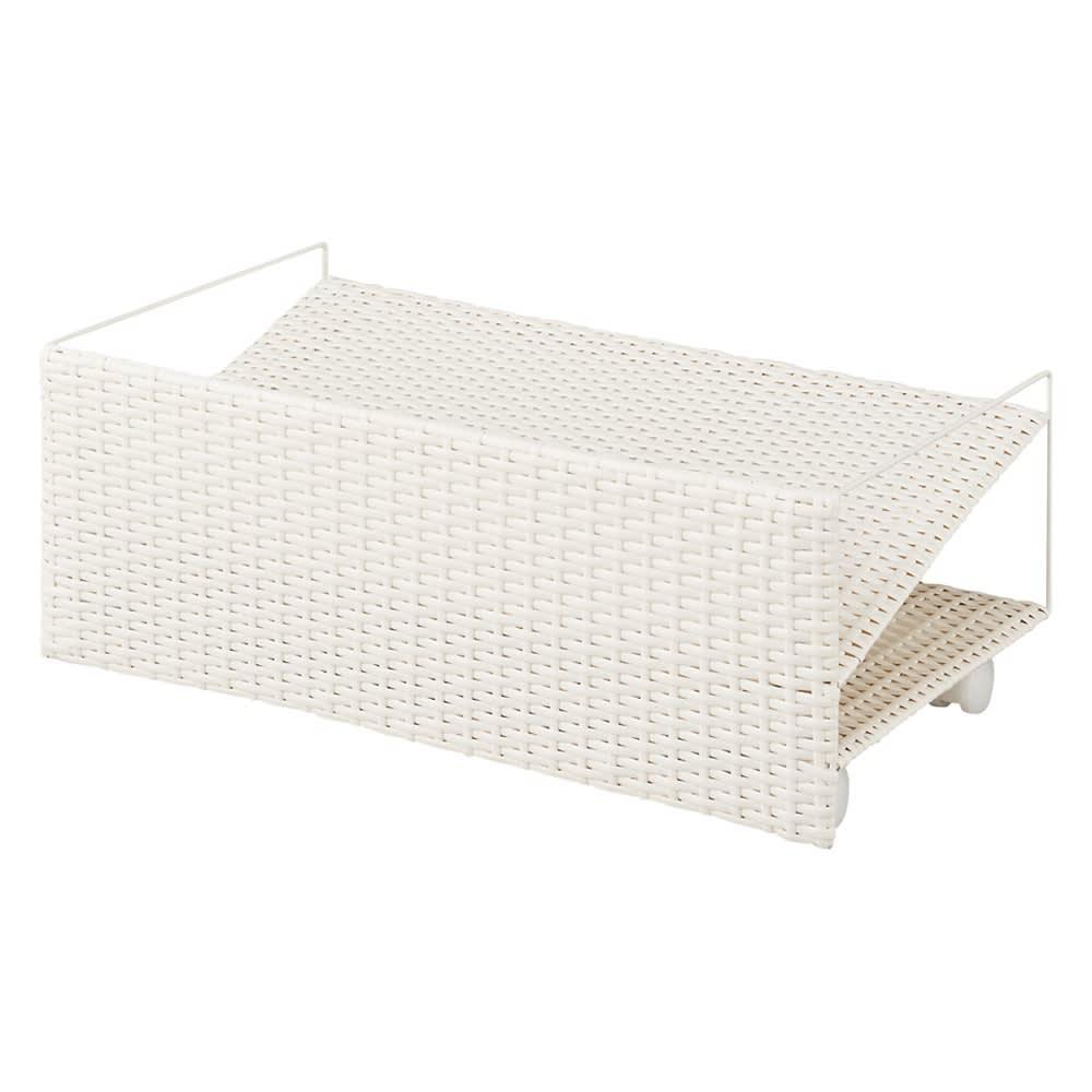 ラタン調の下駄箱下に収まるシューズワゴン 幅60cm (ア)ホワイト