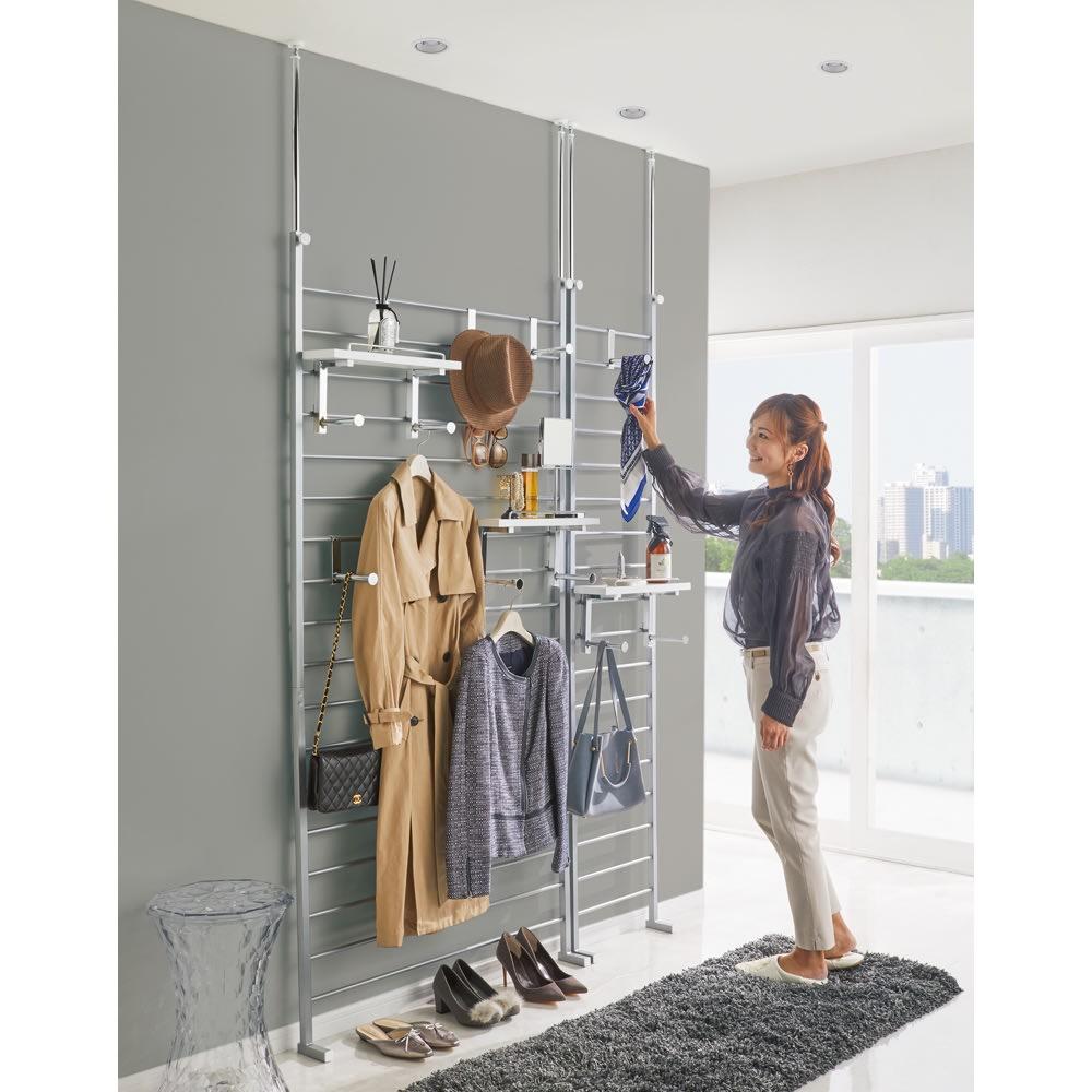突っ張りブティックハンガー 幅40cm (ア)ホワイト 棚板ハンガーとハンガーフックはお好みの位置に取り付け可能。天井高さ240cm