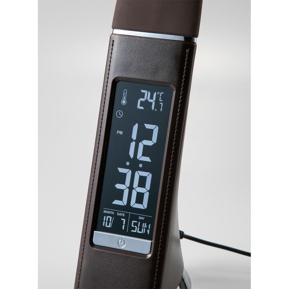デジタル表示付きLEDスタンドライト カレンダー機能、温度計、時間がすぐにわかるデジタル表示付