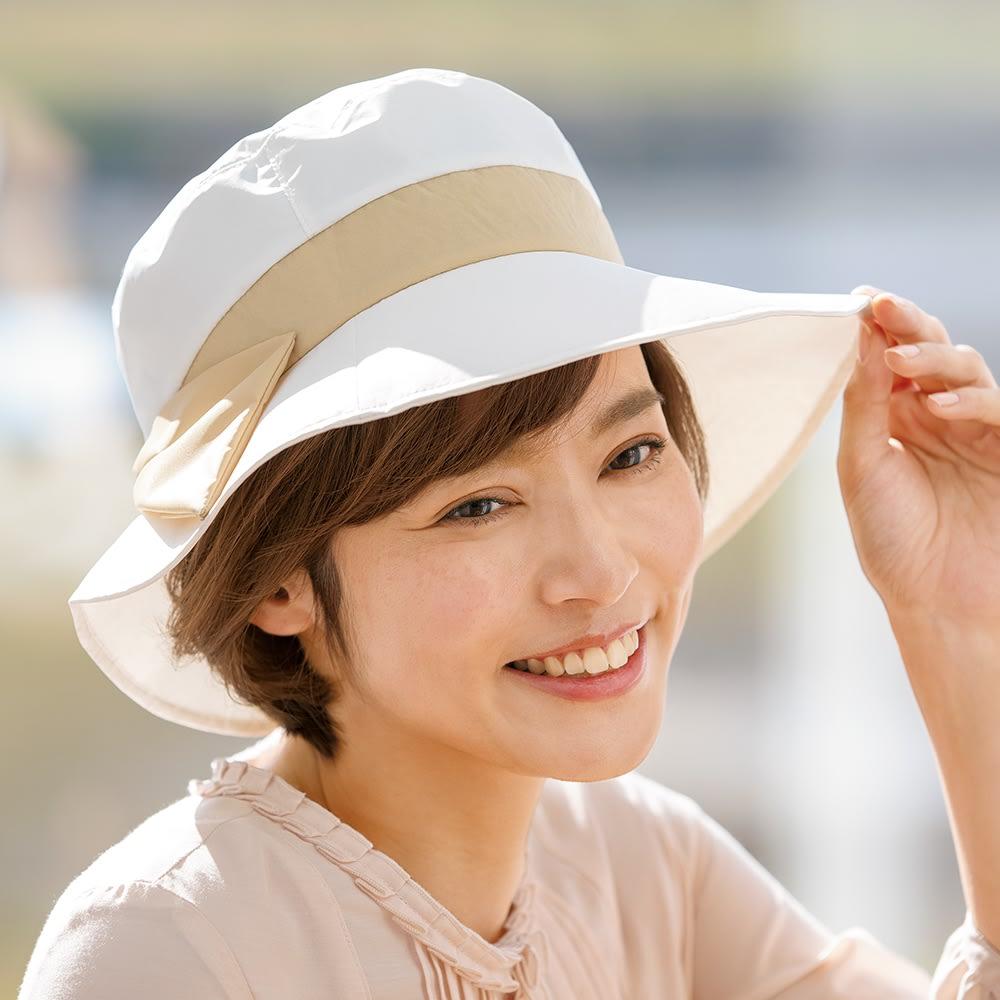 プレミアムホワイト遮熱UVカット帽子 (ア)ベージュ