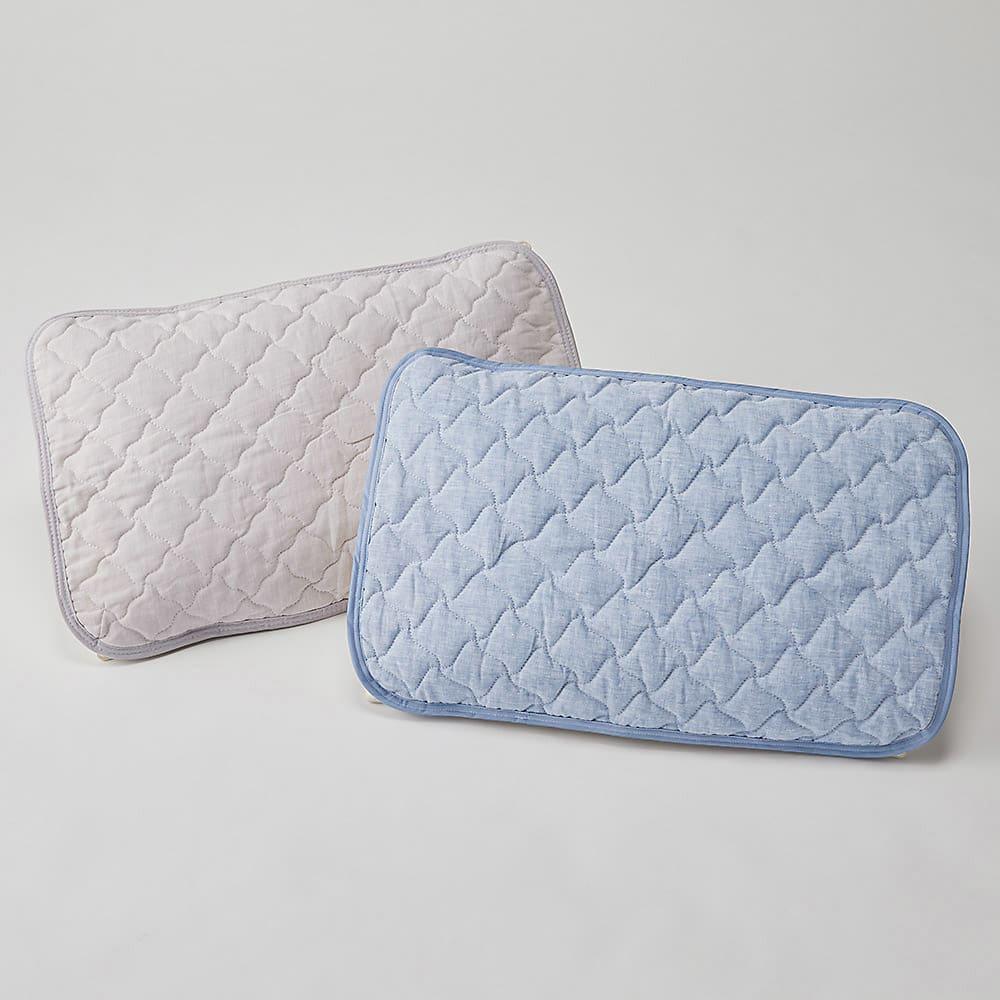 洗えるふんわりリネンシリーズ ピローパッド同色2枚組 グレージュ ピローパッドは裏面ゴムで簡単装着できます。