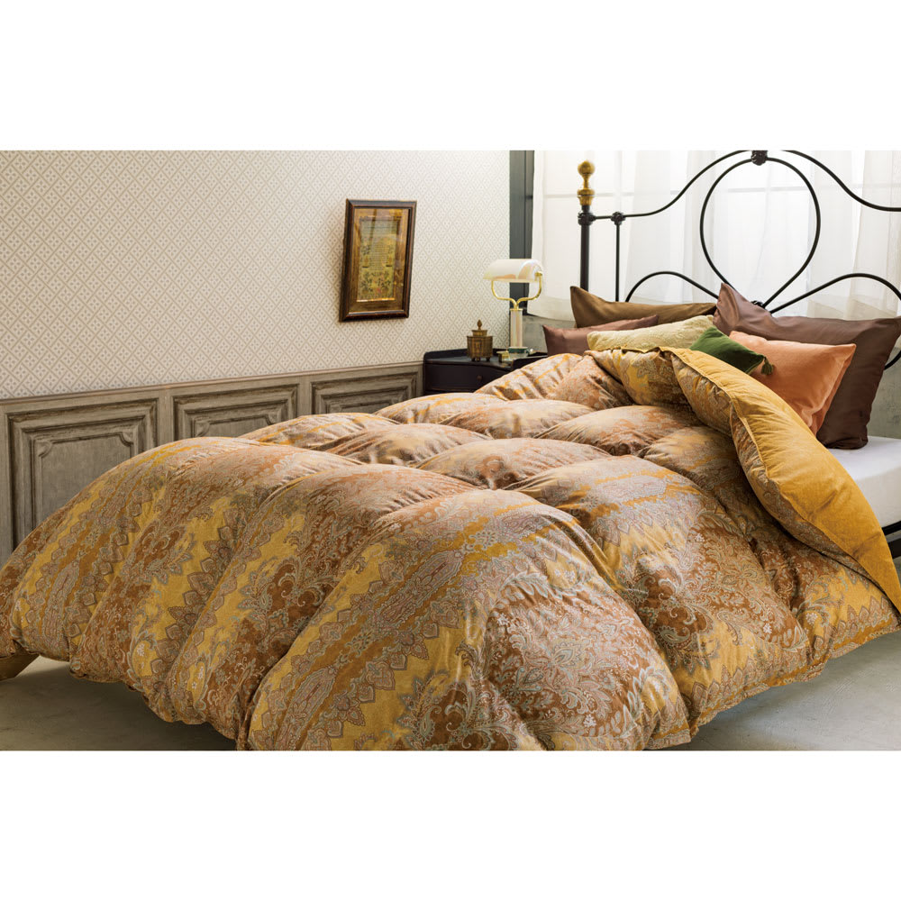 品質へのこだわり 【西川】 マザーグース羽毛布団 コーディネート例 ※お届けは掛け布団です。※写真はクイーンサイズです。