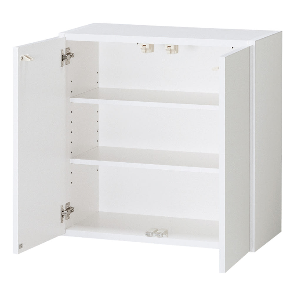 光沢仕上げ洗濯機上吊り戸棚 縦型 幅59.5cm 洗濯機上には収納棚が便利です。洗剤のストックから、タオル収納まで便利にお使いいただけます。