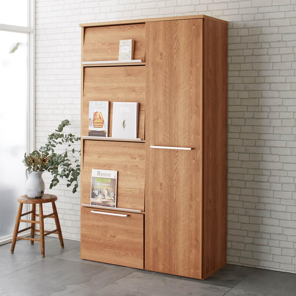 やさしい天然木風デザインの隠せる家電収納庫 ハイタイプ 奥行45.5cm コーディネート例(ア)ブラウン