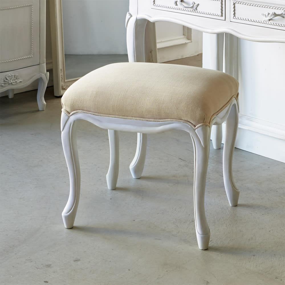 シャビーシック ホワイト フレンチ収納家具シリーズ スツール リネンの風合いが優しい印象のクラシックスツール