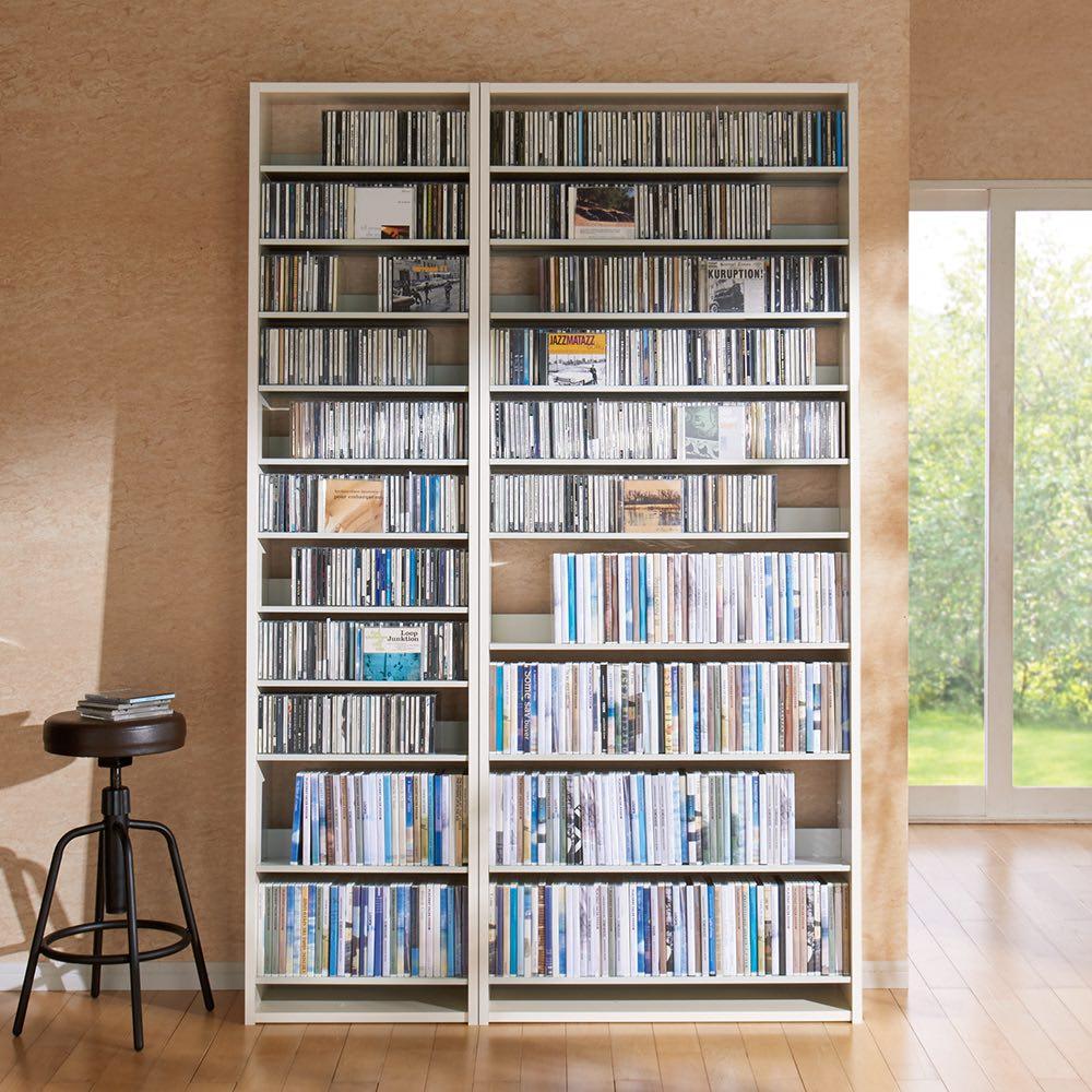 効率的に大量収納CD・DVDラック 幅80cm 781116