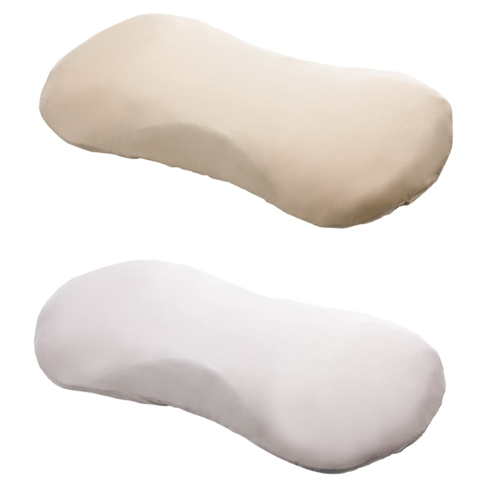 MARIOTTE(R)プロ8人が熟睡を追求した枕3 パーフェクトセット〈期間限定〉 普通判+専用カバー2色組 ピローケース付き。上から ゴールドベージュ・シルバーグレー(各1枚ずつ)