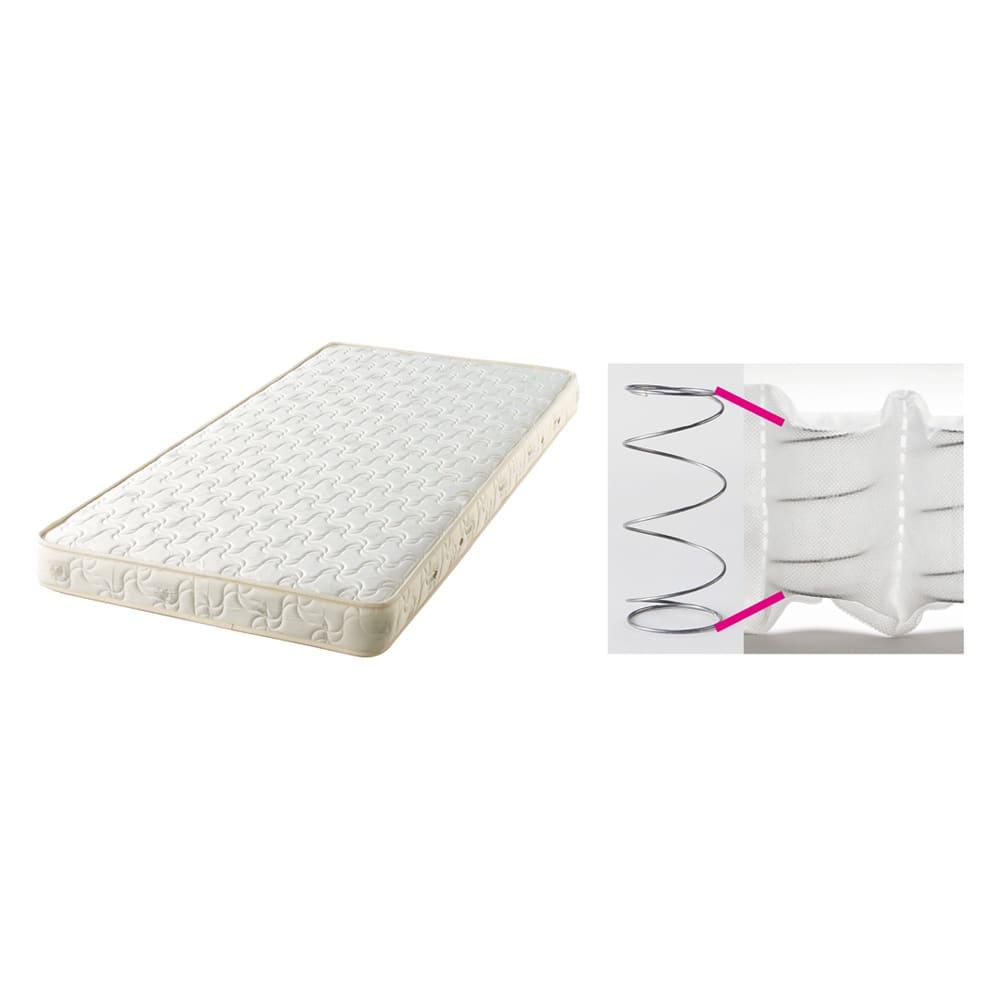 国産マットレス付き棚付き省スペースベッド(ショート/レギュラー) 寝心地にこだわった国産のポケットコイルマットレスをセット。コイルを1つずつ袋詰めしているので、個々のコイルが独立して動き、身体のラインに沿ってしっかり支えます。