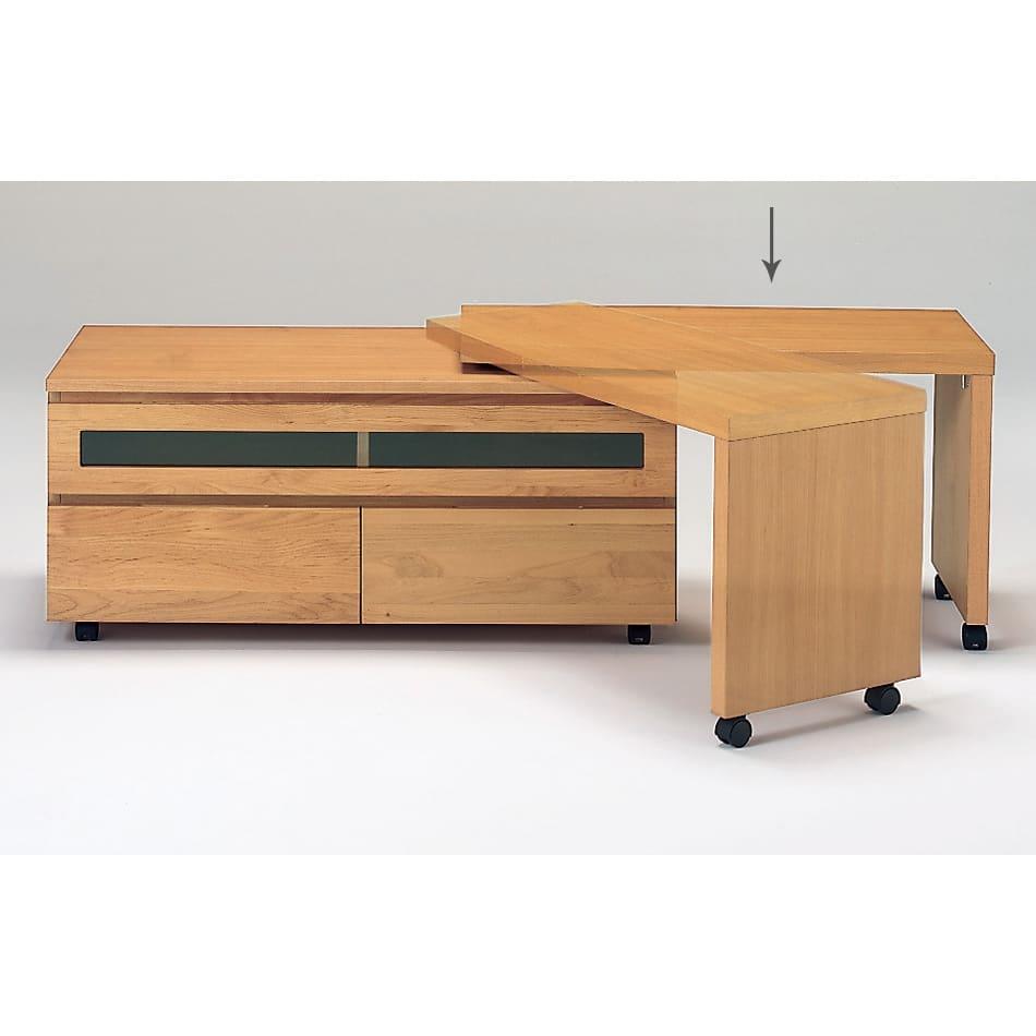 アルダー天然木ユニットボード専用 キャスター付きネストボード幅90cm お届けする商品はネストボードのみです。 ※写真はローボード(別売り)と組み合わせています。