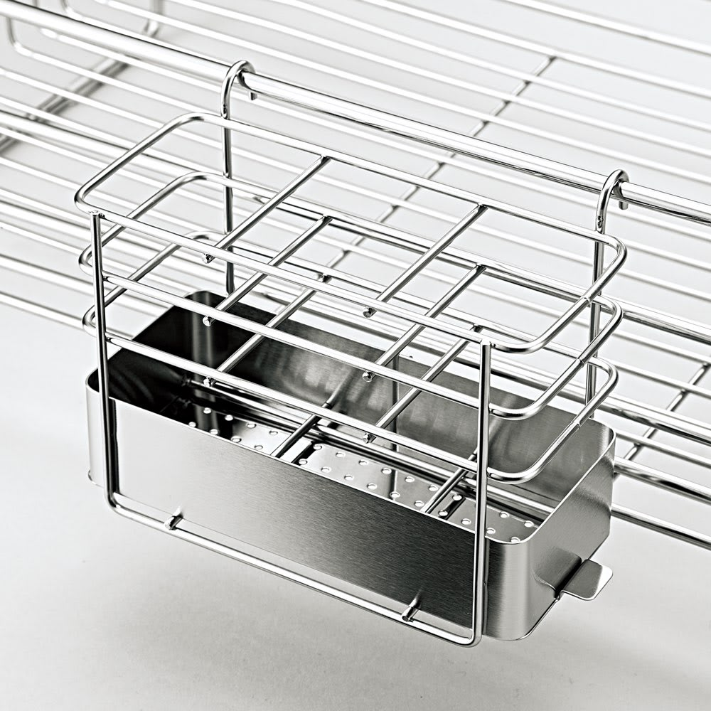 オールステンレス製シンクに渡せる水切り フッ素加工トレー付きスリムロング 便利な付属品2点が付きます。 箸立て(底は外して洗えます)