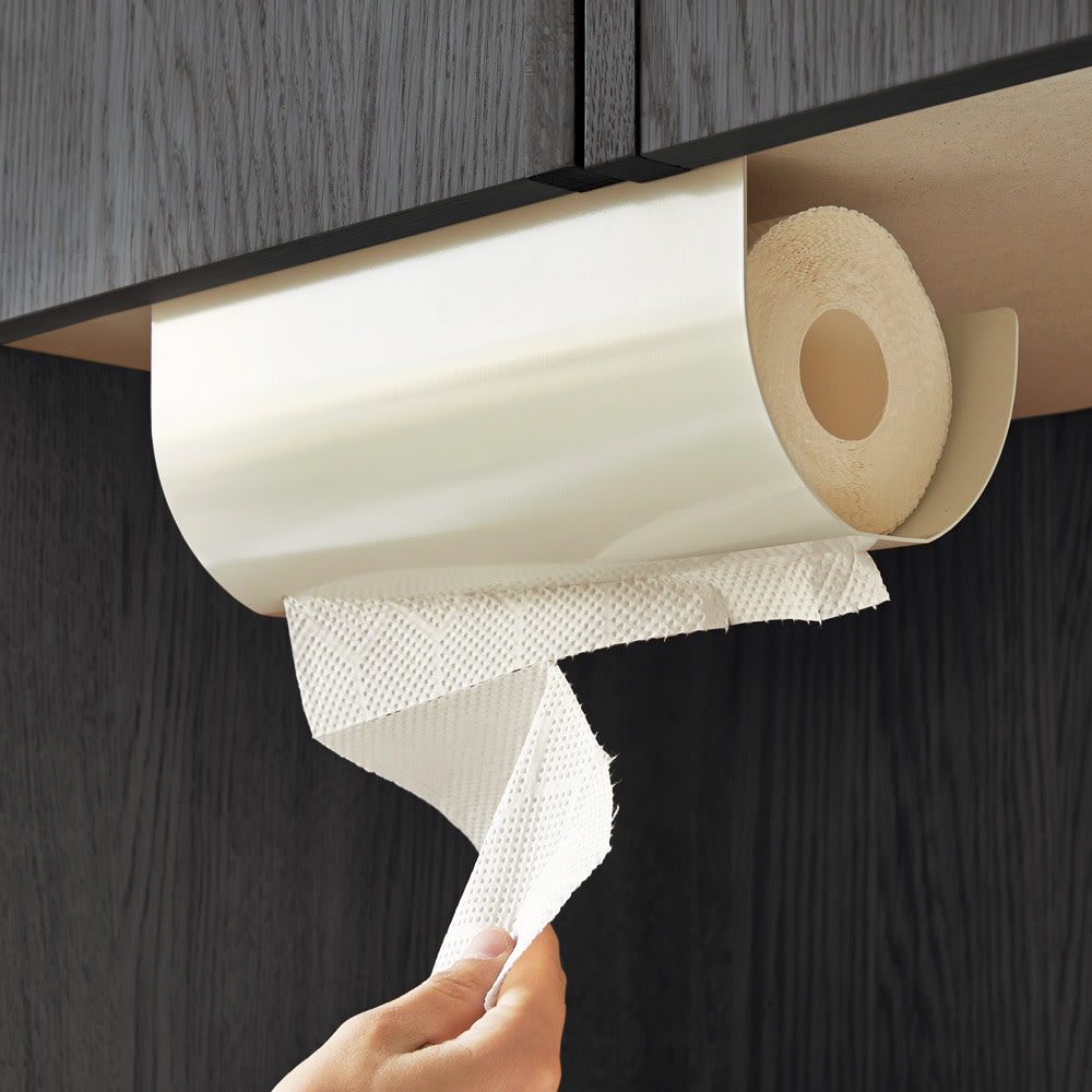UCHIFIT ウチフィット 吊戸棚下のキッチンペーパーホルダー ロールタイプ用 片手で簡単にカットできます。