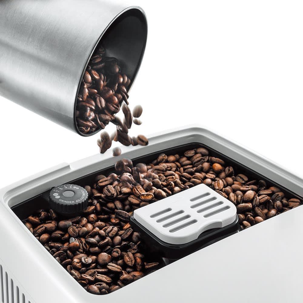 特典コーヒー豆付き DeLonghi/デロンギ ディナミカ コンパクト全自動コーヒーマシン (1)豆を入れれば、あとは全自動。