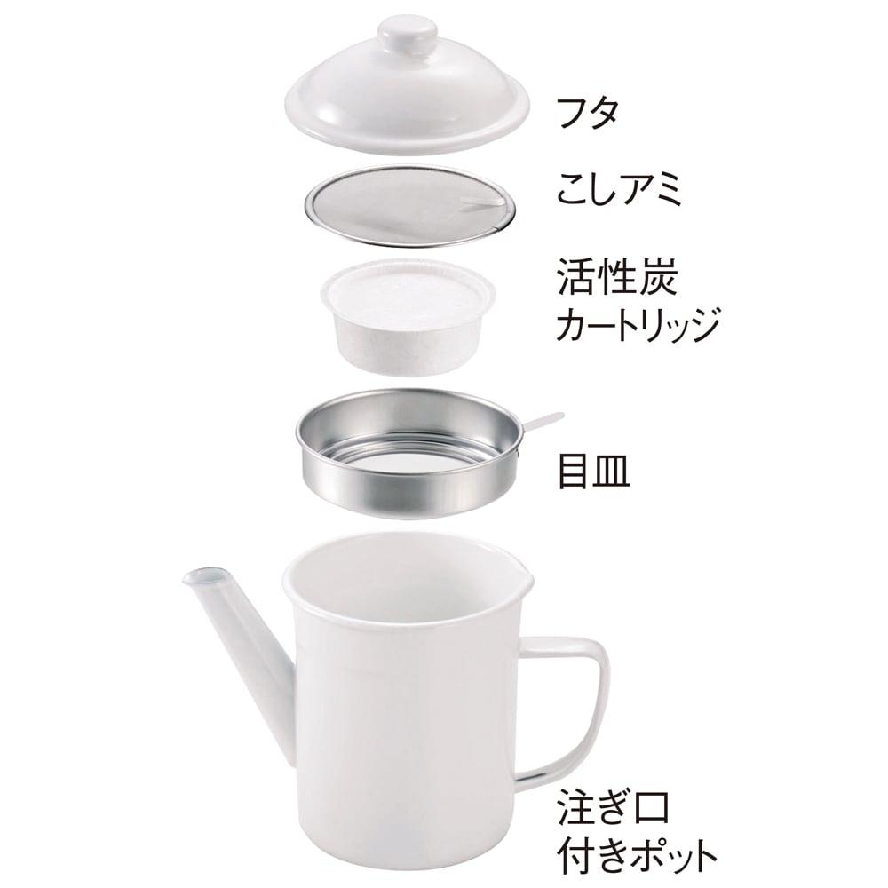 野田琺瑯の活性炭付きオイルポット