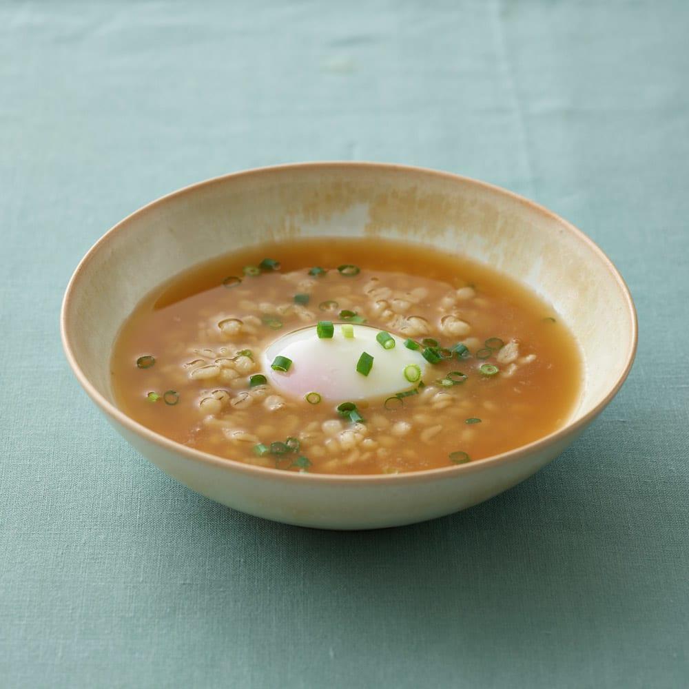 調理もできる温度調整もできるガラスの電気ケトル(クックケトル) 押し麦の雑炊