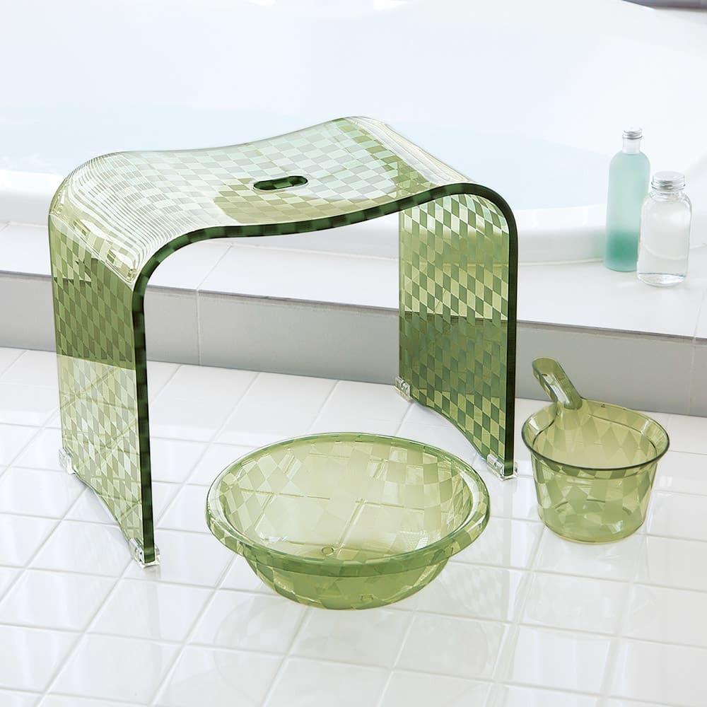 アクリル製バスチェア&バスボウル セット (イ)グリーン系 特大 ※湯手桶はセット内容に含まれません。