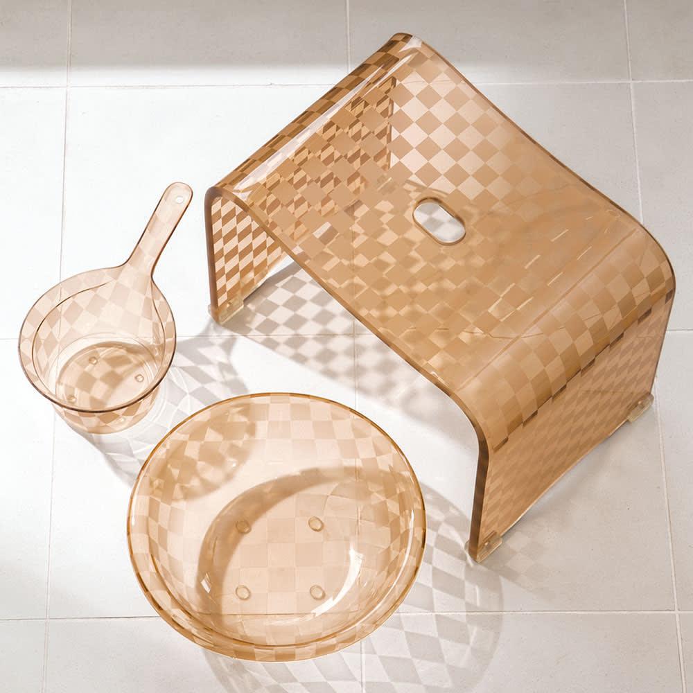 アクリル製バスチェア&バスボウル セット (ウ)モカベージュ系 ※湯手桶はセット内容に含まれません。