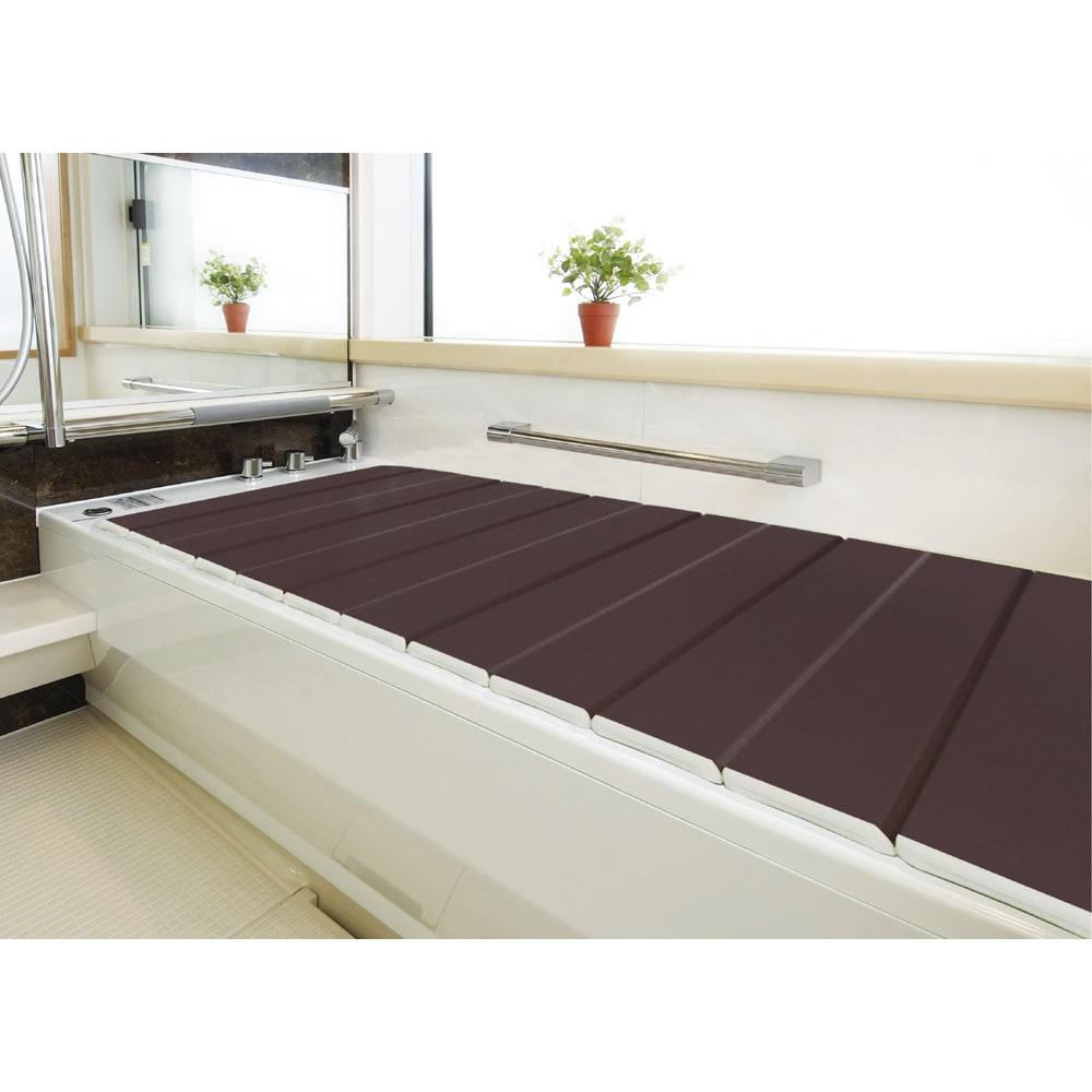 銀イオン配合 軽量・抗菌 折りたたみ式風呂フタ 159×75cm・重さ2.8kg (ウ)ダークブラウン(WEB)