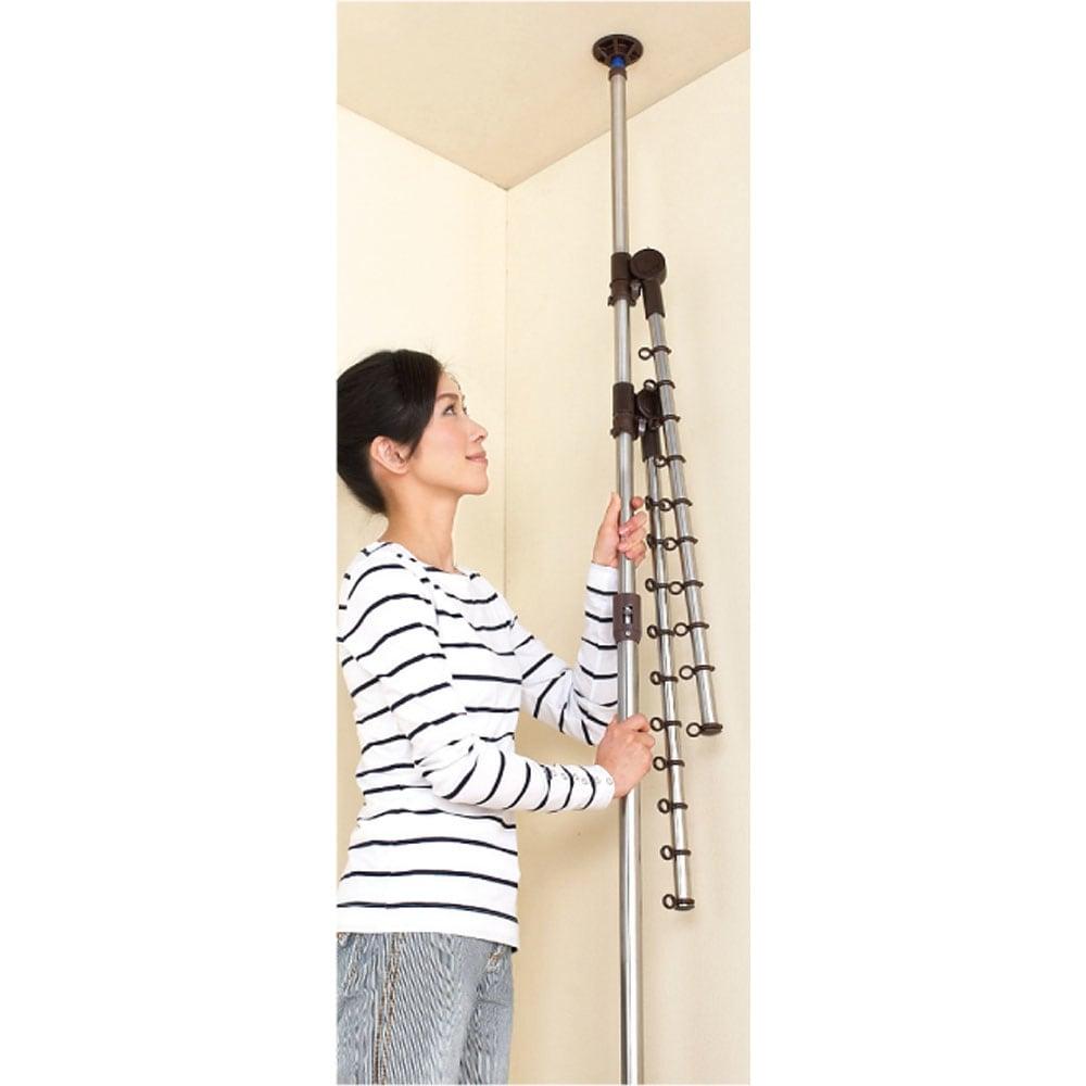 「どこでもポール」ワンタッチつっぱり物干し アーム2本(屋内・屋外兼用)天井高168~280cm対応 天井と床に押しつけるだけで設置できるマジックストッパー。