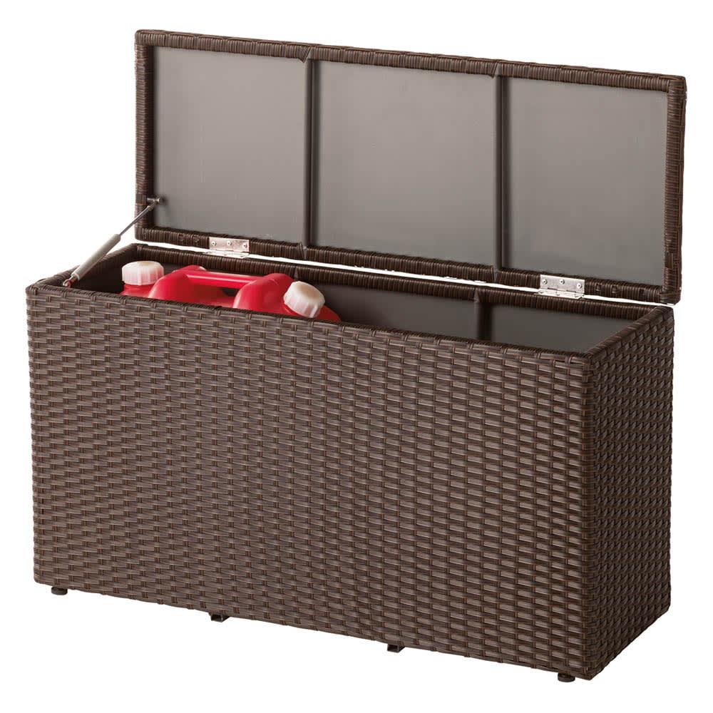 ラタン調コンパクトシリーズ〈ブラウン〉 薄型ベンチ幅90 お届けの商品です。