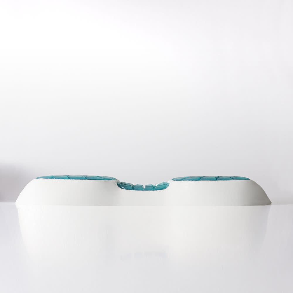 テクノジェル(R) Back & Side ピロー パーフェクトセット 枕単品+プラチナコットン(R) ピローケース2色組 (ア)低め 女性におススメ・身長165cm未満が目安