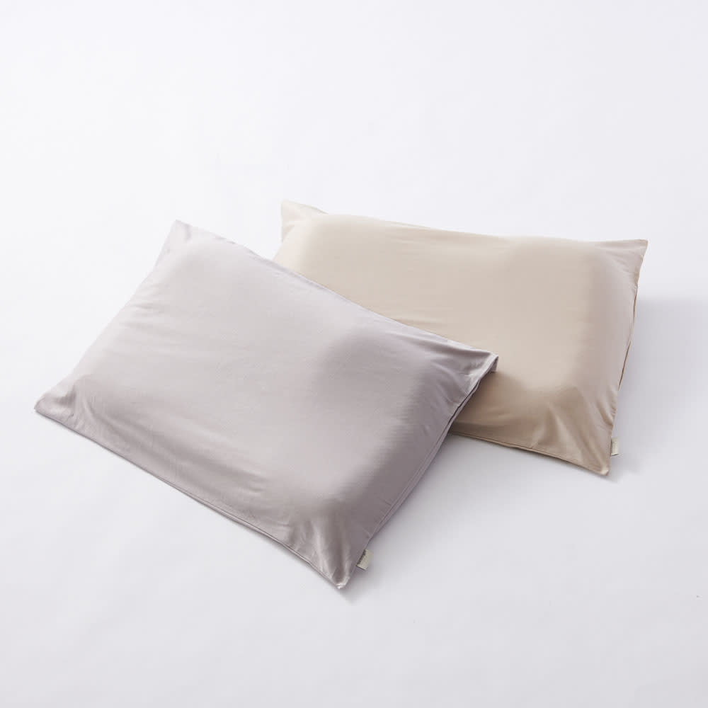 テクノジェル(R) Back & Side ピロー パーフェクトセット 枕単品+プラチナコットン(R) ピローケース2色組 ピローケースの色:左からシルバーグレー・ゴールドベージュ