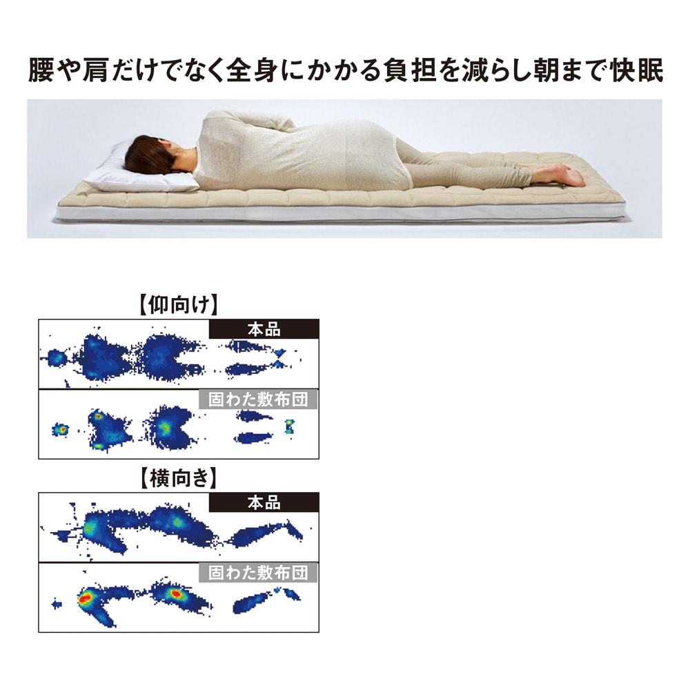 朝が違う。敷布団の決定版! ブレスエアー(R)敷布団 ネオ シリーズ 消臭・吸汗パッド付き敷布団 表面がソフトになったことで、身体の凹凸に合わせてやさしくフィット。そのため身体の荷重がかかる肩や腰の負担を軽減します。身体へのフィット感が増し、体圧分散がさらによくなりました。横寝など、どんな姿勢にも対応します。