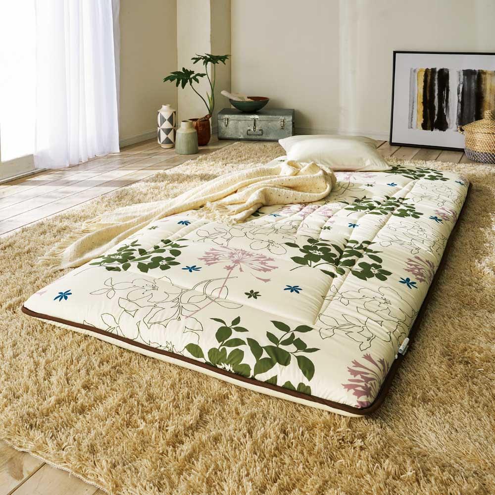 新 軽量&しっかり敷布団シリーズ お得な掛け+敷き+枕セット (イ)花柄グリーン