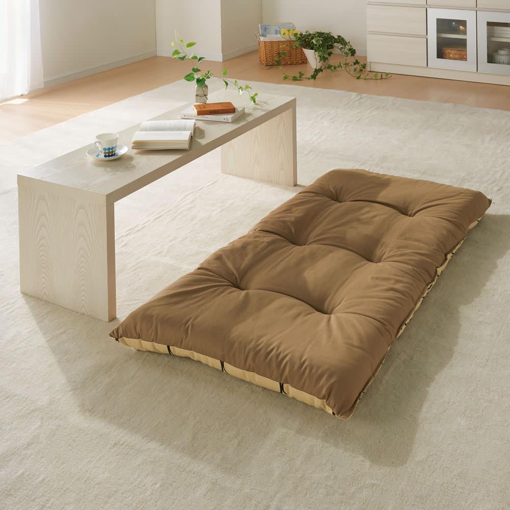 寝心地こだわりごろ寝布団 本体のみ (ウ)アイボリーXブラウン 小さめサイズは座布団にも便利。柄と無地のリバーシブルです。