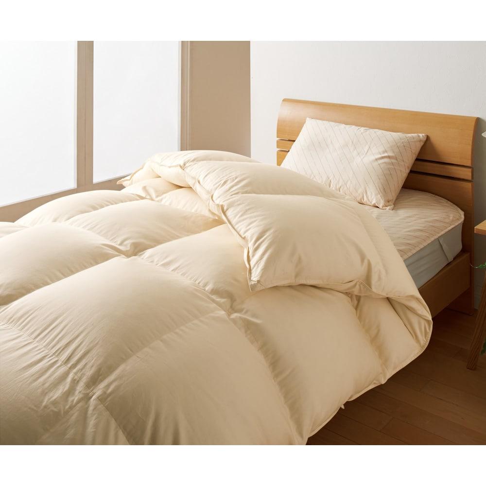ダニゼロックお得な羽毛布団完璧セット(布団+カバー) ベッド用 布団&枕:ベージュ