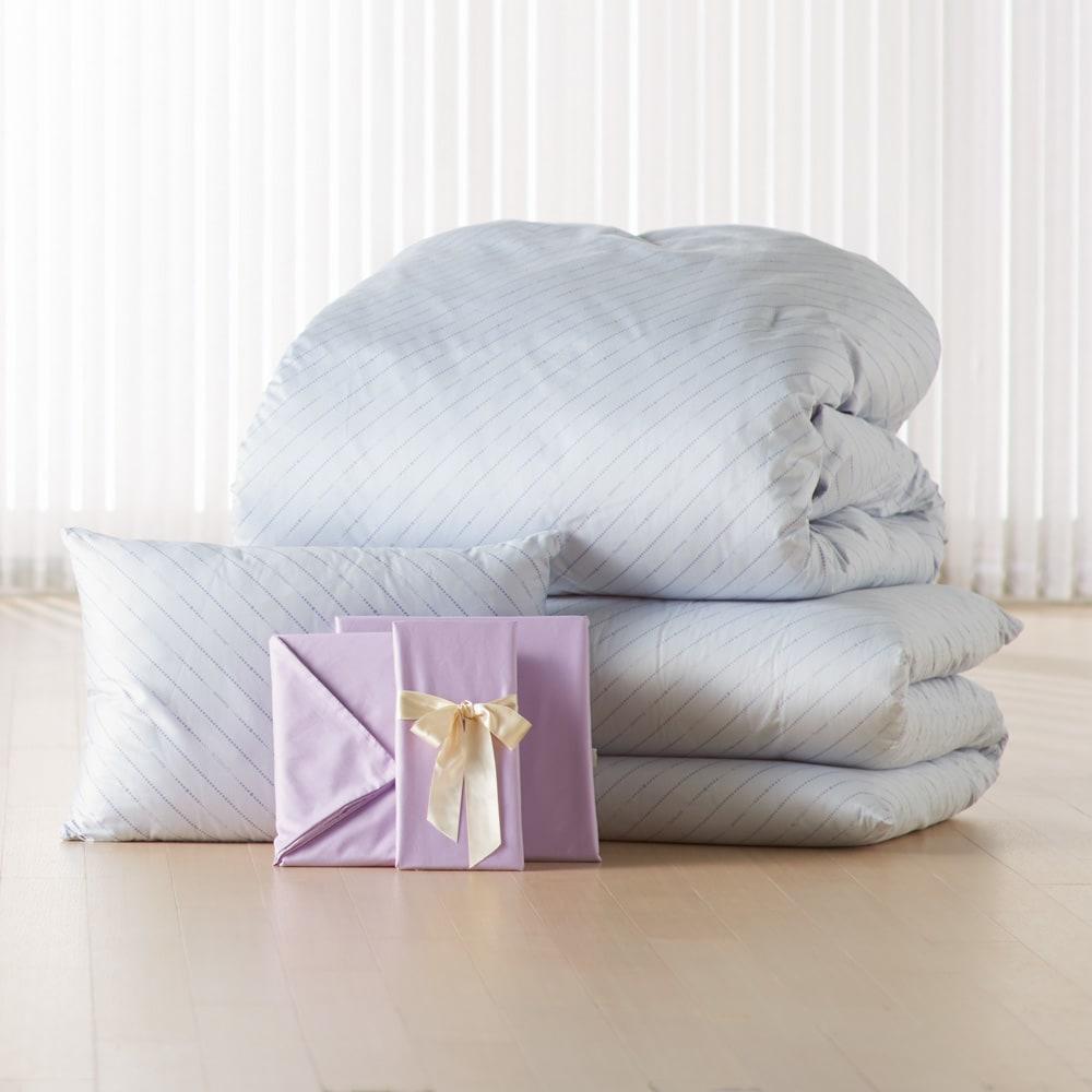 お得な完璧セット(布団+カバー) 2段ベッド用6点 (ア)ブルー/ラベンダー 全部そろえて安心! 大好評 ダニゼロック完璧セット(敷布団用) 掛け布団 敷布団 枕 掛け布団カバー 敷布団カバー 枕カバー ※ダブルサイズは、枕・枕カバーを2点ずつお付けします。