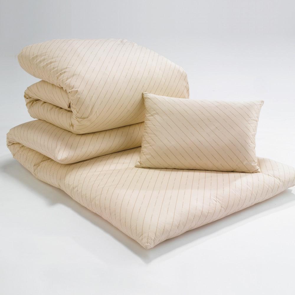 お得な完璧セット(布団+カバー) 2段ベッド用6点 布団のベージュはディノスだけの限定カラー。※ダブルサイズのセットは枕が2個付きます。