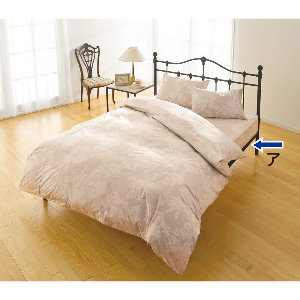 サテン織で質感UP!ダニゼロック 綿100%ベッドシーツ (ア)花柄ベージュ ※色&柄のみご参照ください。