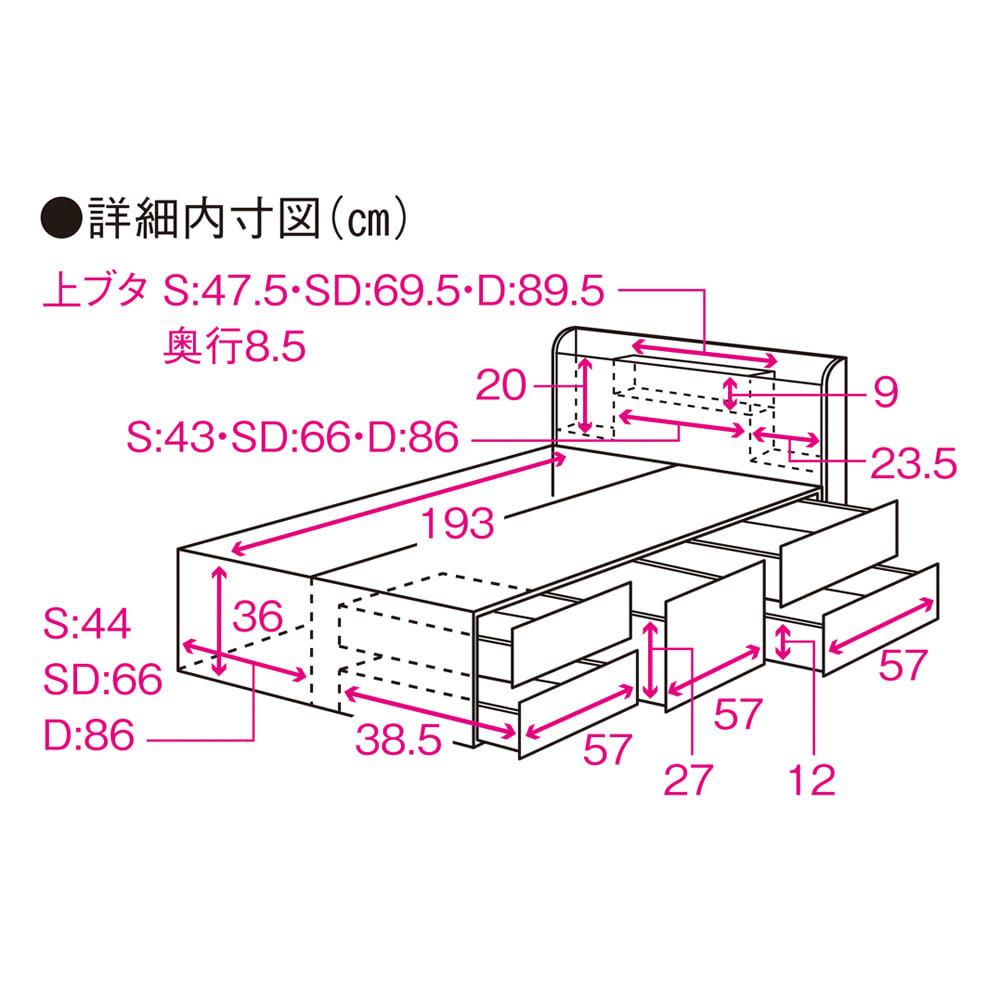 寝そべりながらタブレットが使えるベッド フレームのみ サイズ詳細図