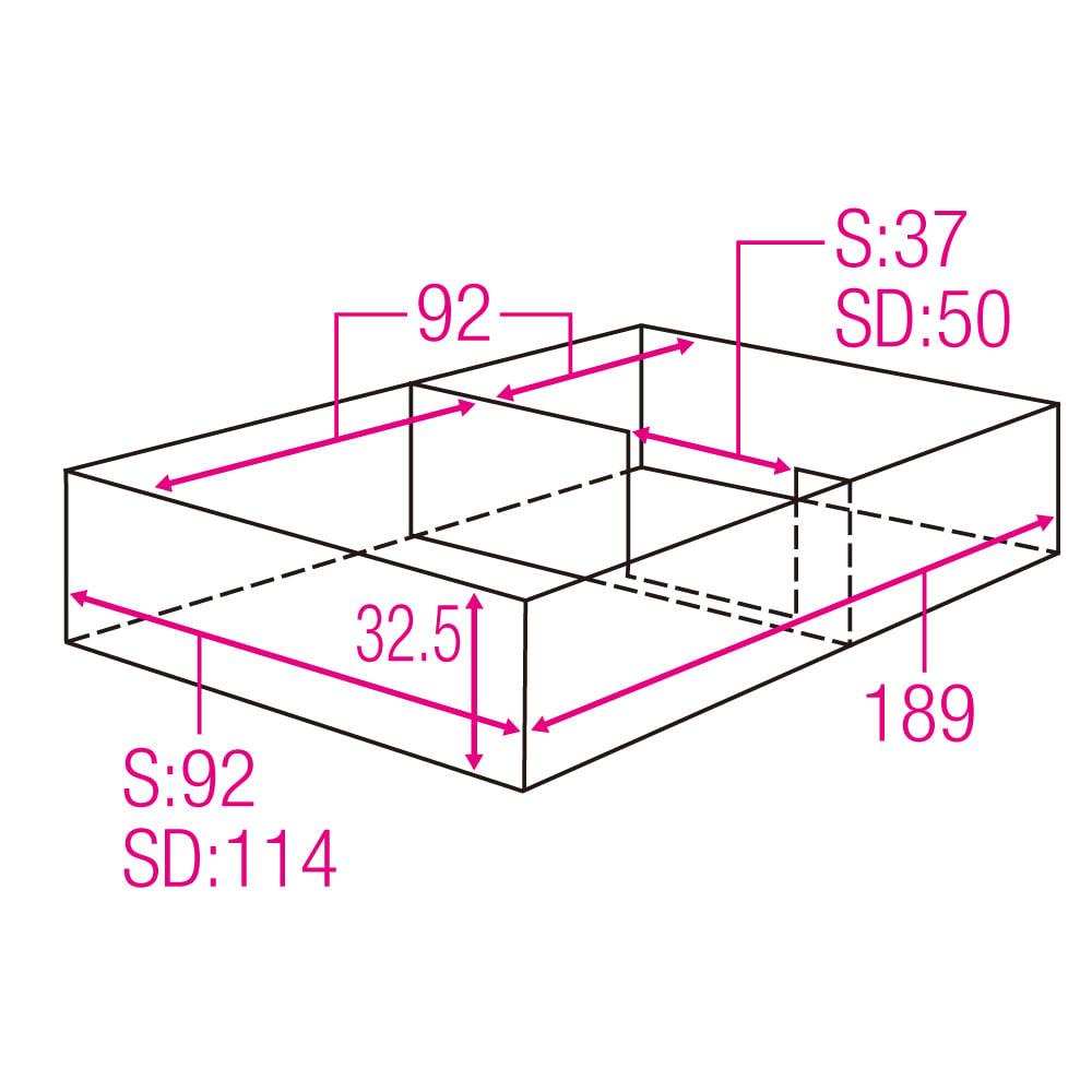 跳ね上げ美草畳収納ベッド ヘッドなし 収納部内寸図 (単位:cm)