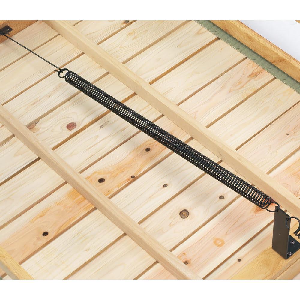 畳空間を簡単に演出できる折りたたみベッド ハイタイプ(棚なし) 畳の下の床板は、通気性の良いひのきのすのこ仕様。