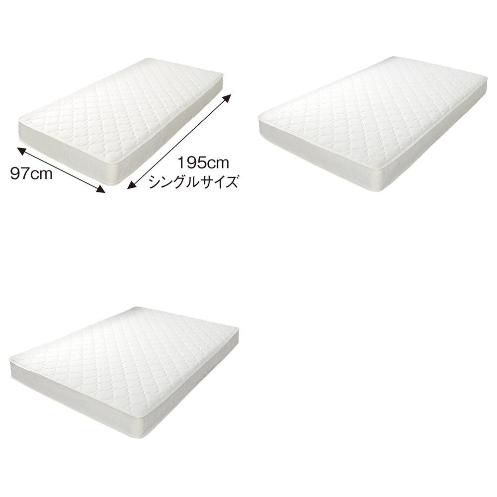 国産無塗装ひのきすのこベッド(すのこ板4分割仕様)ポケットコイルマットレス(厚さ19cm)付き 高密度ポケットコイルマットレス