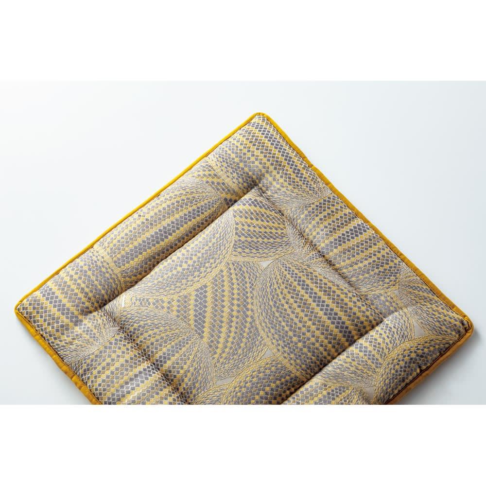 スペイン製ジャカード織りシートクッション (イ)イエロー系・表