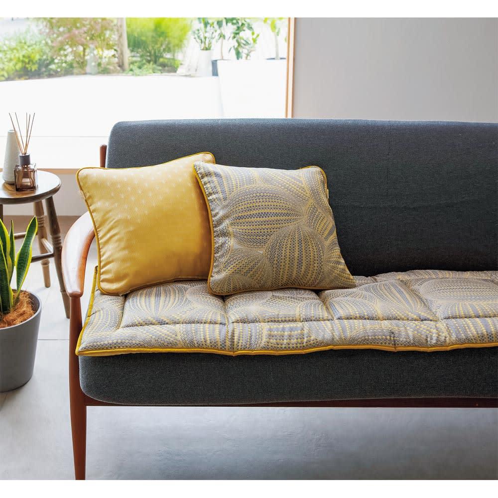 スペイン製ジャカード織りシートクッション (イ)イエロー系(クッションは別売りです。)