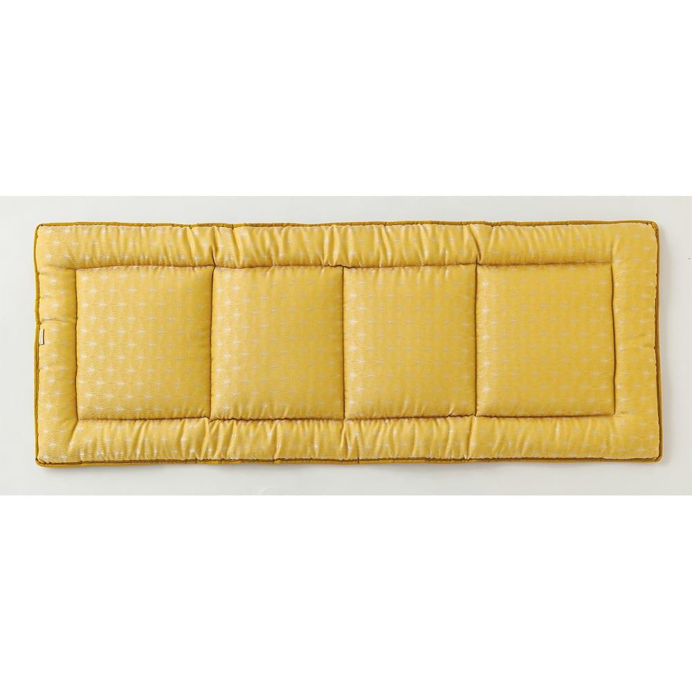 スペイン製ジャカード織りシートクッション (イ)イエロー系・裏(写真は約48×120cm)