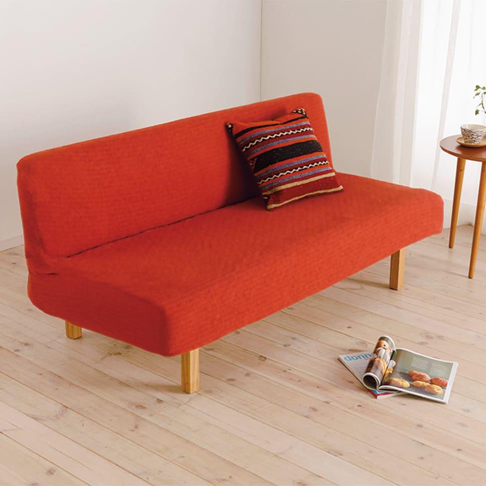 スペイン製 はっ水防汚フィットカバー「ブリック」 ソファカバー アームなし (カ)オレンジ ※写真は3人掛用です。