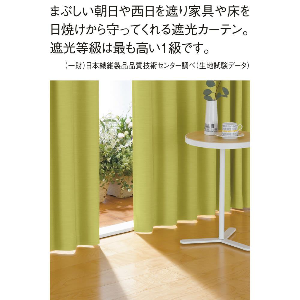 形状記憶加工多サイズ・防炎・1級遮光カーテン 130cm幅(2枚組) (カ)イエローグリーン 頼もしい遮光率99.99%