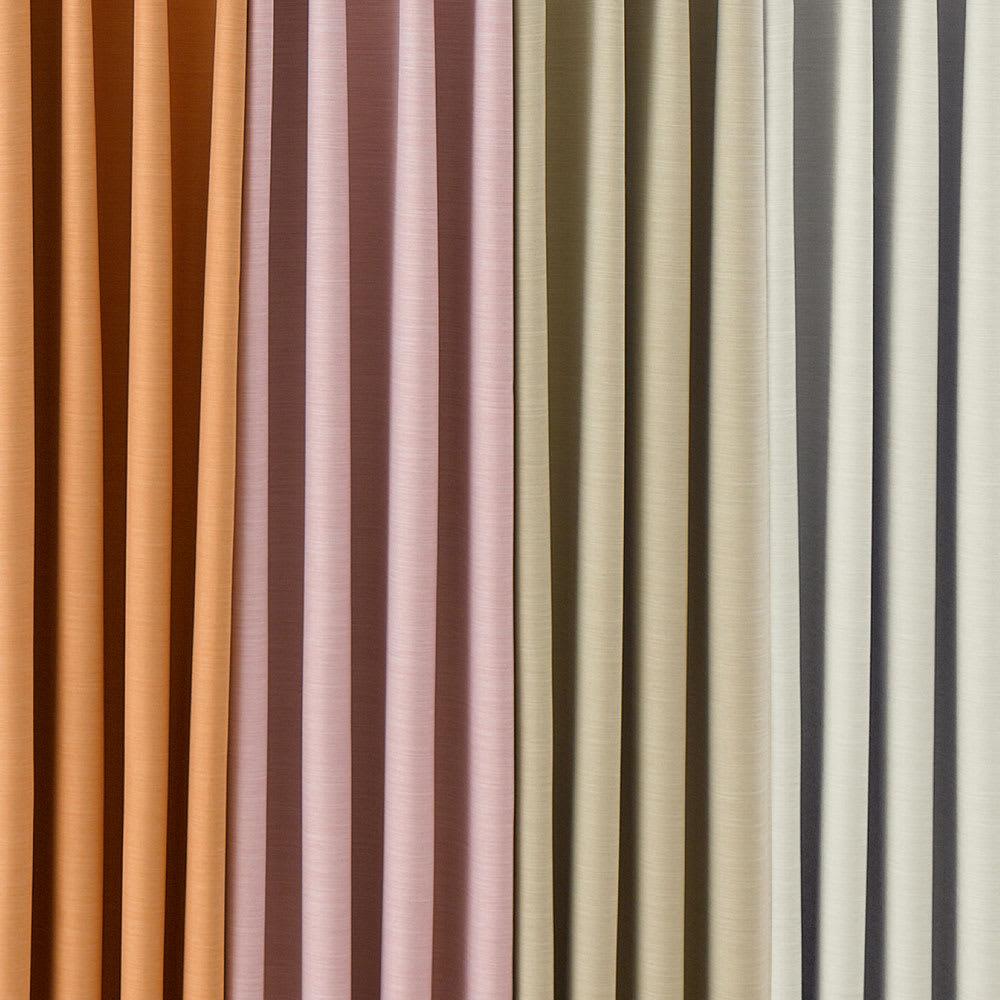 形状記憶加工多サイズ・防炎・1級遮光カーテン 130cm幅(2枚組) 左から(エ)ライトオレンジ(ウ)ピンク(イ)ライトベージュ(ア)アイボリー