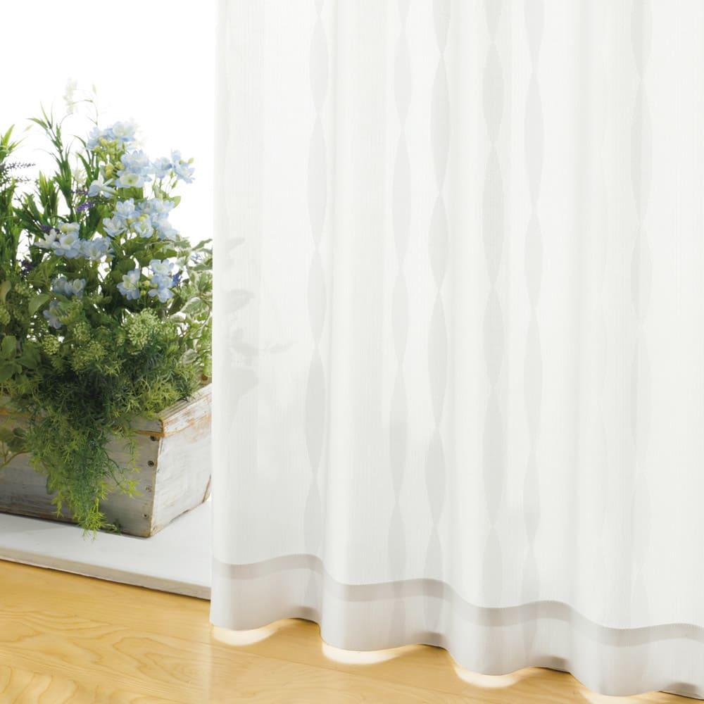 形状記憶加工多サイズ・防炎・UV対策レースカーテン 150cm幅(2枚組) (ウ)ウェーブホワイト